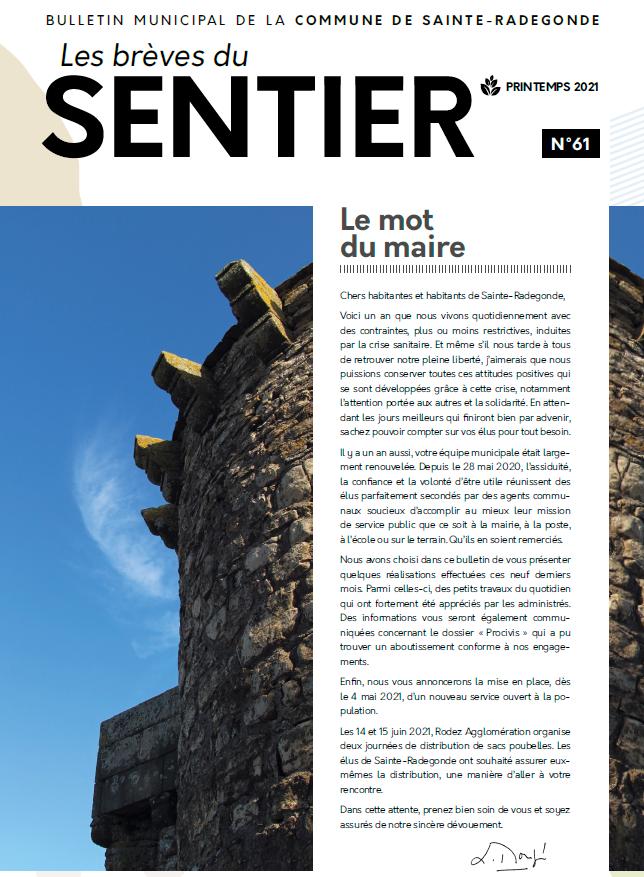 Les brèves du Sentier n°61 - Printemps 2021